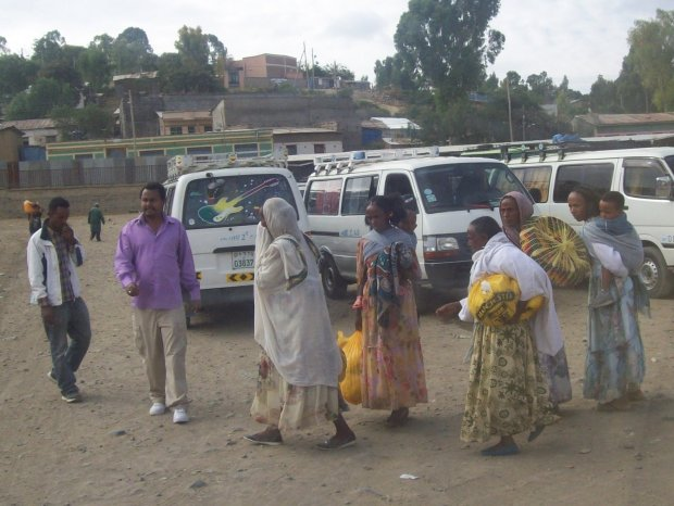 Mekele Bus Station with traditional women of Tigray (in Northern Ethiopia)