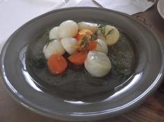 Celery root stewed with carrots in olive oil.